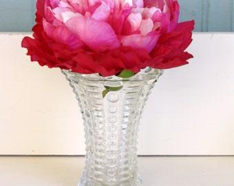 Vintage Glass Vase Anchor Hocking Pattern Glass Pressed Glass