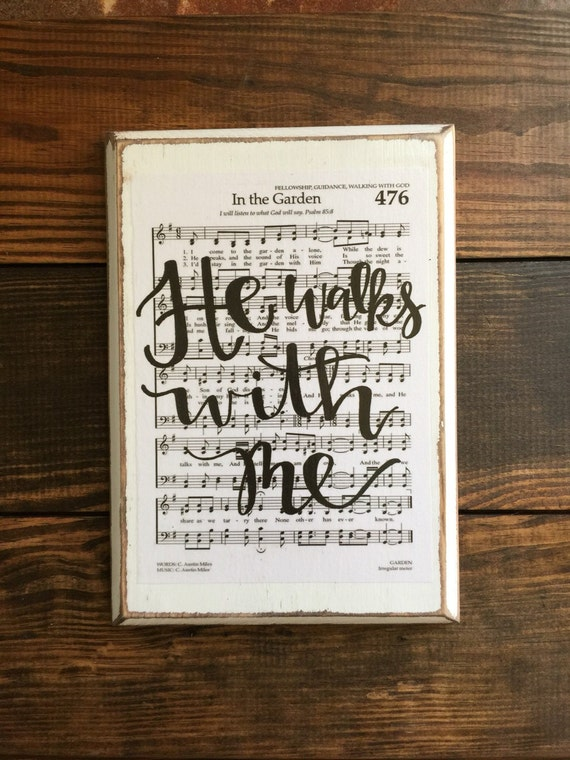 In The Garden Hymn Board Hand Lettered Wood Sign