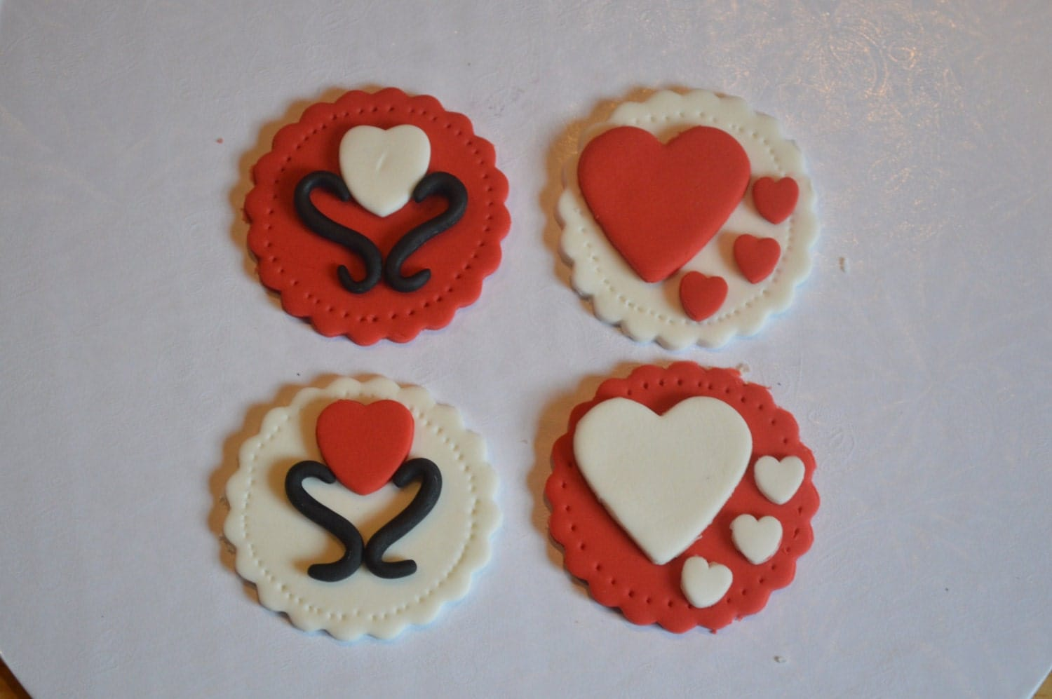 Fondant Valentines Cupcake Toppers 14 Different Designs to