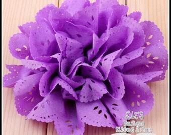 "4"" PURPLE eyelet flowers, 2 piece"