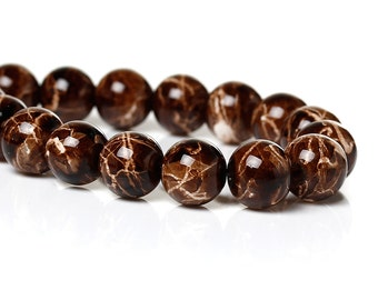 20 Brown Beads with White Splatter  Tie Dye Glass Beads Brown and White Marbled 8mm Loose Beads 3904