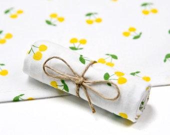 Cloth handkerchief with yellow cherries, 100% cotton