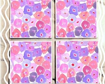 Watercolor Purple Flowers Tile Coaster Set