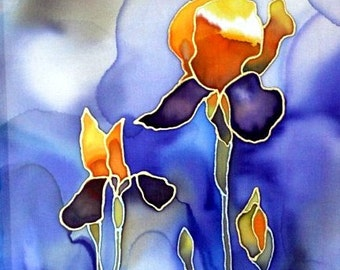 Print of Original Silk Painting - Irises in the Clouds