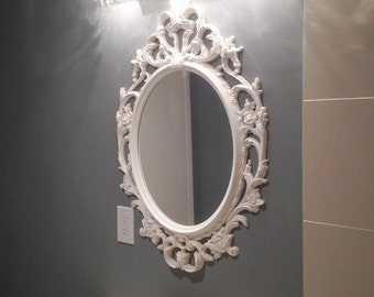 Large Bathroom Wall Mirror, Shabby Chic Oval Mirror Nursery Mirror White Baroque Ornate Decorative Mirrors