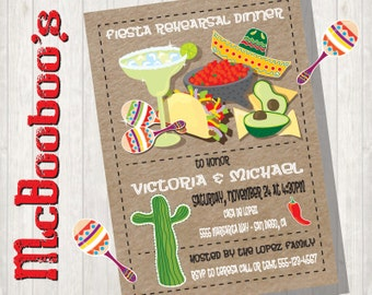 Tacos and Tequila Rehearsal Dinner invitations Printable or Printed Mexican Fiesta Kraft paper background