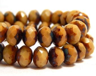8x6mm Bone Czech Beads, Beige Beads, Cream Beads, Earthy Beads, Tan Beads, Light Brown Beads, Ivory Beads, Rustic Beads, T-67D
