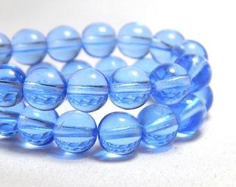 8mm Sapphire Czech Beads, 8mm Sapphire Beads, Blue Beads, Sapphire Beads, 8mm Blue Beads, 8mm Beads, 8mm Round Beads, 8mm Czech Beads, T-3C