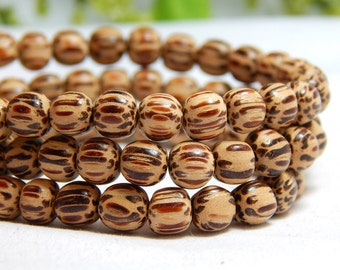 6mm Round Palm Wood Beads, Round Wood Beads, Palmwood Beads, 6mm Palm Wood, Light Palm Wood, Wood Beads, Wooden Beads, 6mm Beads, D-J01