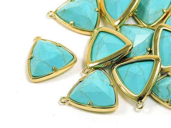 Gemstone Charm/ Triangle Pendant with Turquoise in Anti-tarnish Gold Plating  - 2 pcs/ order