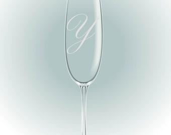 gegraveerd champagneglas met intitiaal