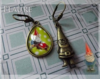 Earrings '' The garden gnome gives her heart ""