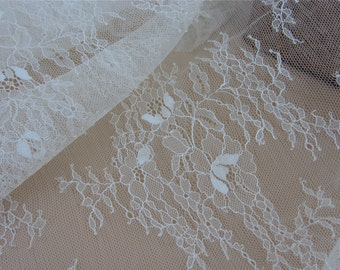 Ivory Chantilly Lace Fabric ,1yards  cream eyelash lace fabric Bilateral Eyelash Lace, French Style Wedding Dress  lace