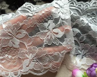 "Off white wedding lace,Stretch Lace Trim - Extra Wide black Lace Trim, 5.5"" Wide Lace Trim"