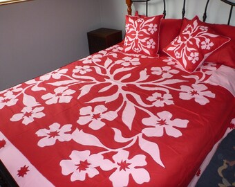 Phlox Applique Embroidered Quilt Cover Set - King Size