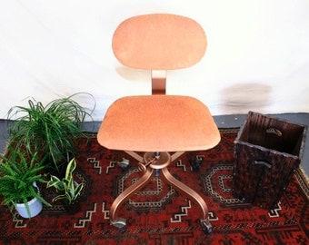 Vintage Office Chair: Rolling, Burnt Orange, Copper Paint Finish