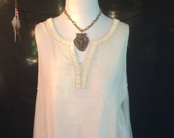 Beaded, Lace Trapeze Tank Top Fits Medium to Large, Embellished, Hippie, Boho