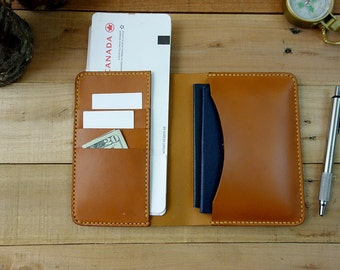 Leather Passport Holder Wallet - Tan - Passport Holder - 3 Card Pockets