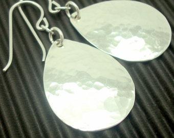 Medium Sterling Silver Hammered Teardrop Earrings