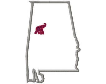 Alabama with elephant applique embroidery design download - 5x7 hoop size