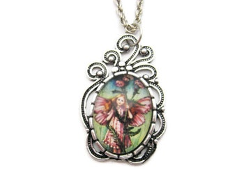 Fairy Necklace Yarrow Flower Fairy Necklace Fairy Jewelry Gifts Under 20 Yarrow Necklace Flower Faeries Jewelry Herbalist Necklace