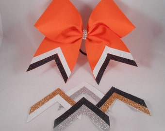 Cheer Bow Custom FAST 2 week TURNAROUND Just For Your School Team! by BlingItOnCheerBowz Black Silver Gold White Yellow Orange