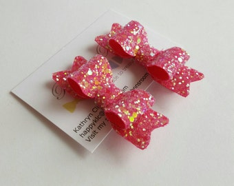 Pink glitter hair clips, set of glitter Hair Clips, pink hair bows, pink hair clips, Toddlers, Baby Girl Hair Clips, Glitter Hair bows.