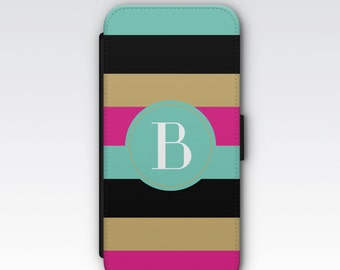 Wallet Case for iPhone 8 Plus, iPhone 8, iPhone 7 Plus, iPhone 7, iPhone 6, iPhone 6s, iPhone 5/5s - Bold Coloured Stripes Monogram Case