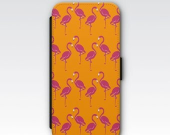 Wallet Case for iPhone 8 Plus, iPhone 8, iPhone 7 Plus, iPhone 7, iPhone 6, iPhone 6s, iPhone 5/5s - Hot Pink Flamingo Case