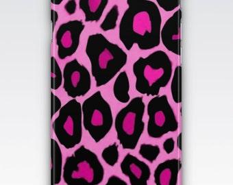 Case for iPhone 8, iPhone 6s,  iPhone 6 Plus,  iPhone 5s,  iPhone SE,  iPhone 5c,  iPhone 7  - Black & Pink Leopard Print Design