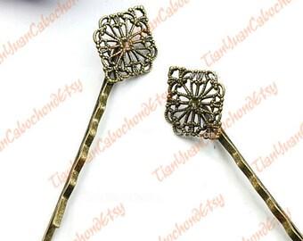20 pcs Filigree Hairpins 15mm Brass Tone Circle Cabochon Bases 928180173