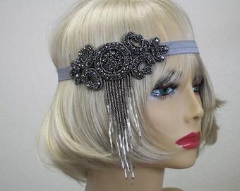1920s headpiece, Gatsby headband, Flapper headpiece, 1920s headband, Dowton Abby, Prom headband, Forehead band, 1920s hair accessory