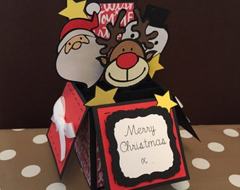 Handmade Santa, Snowman, Reindeer  Christmas Box Greeting Card