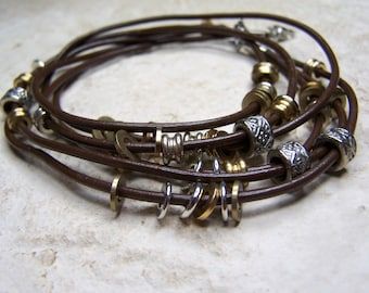 Brown Leather, Ankle Bracelet, Sizes 6-12 Inch Ankle, Beads on Leather, Beach Jewelry, Leather Bracelet by Accentricsol