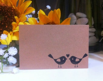 "Brown Kraft Cards ""Love Birds"" Pack of 10, Gift Tag, DIY Wedding, Embellishment, Scrapbooking,Party Supplies,florist supplies"