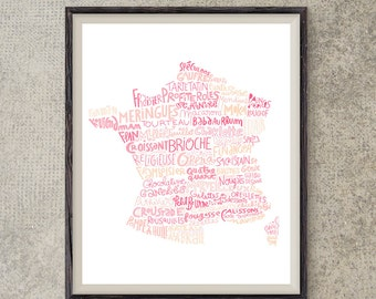 French pastries map kitchen print art for cooks bakery art french poster kitchen decor french art restaurant poster modern wall art
