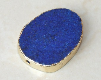 Lapis Lazuli Oval Slab - Lapis - Center Drilled - Slab Bead - Lapis Bead - Gold Edge - 30mm x 39mm - 8053