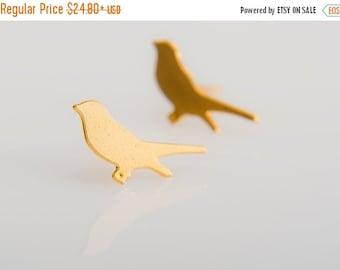 SUMMER SALE Tiny bird post Earrings ,minimalist gold earrings , urban post earrings,