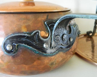 Hammered Copper Fondue Set - Swiss Made 1940s