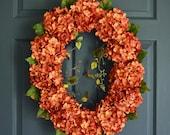 Oval Hydrangea Wreath | Front Door Wreaths | Summer Wreath | Hydrangea Wreath | Outdoor Wreath | Fall Wreath | Housewarming Gift