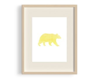 Wall Art, Print, Nursery Decor - Bear - Yellow