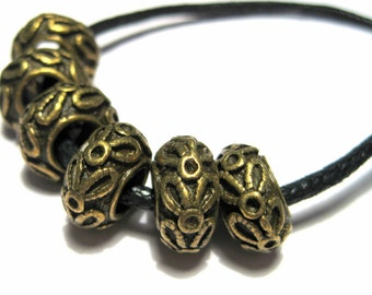 10pcs Antique Bronze Spacer Beads 12x6mm Large Hole Spacer Beads