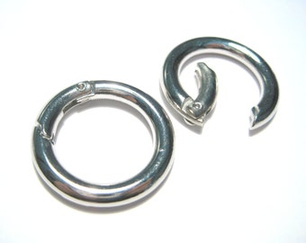 2pcs Silver Tone Safety Rings Round Spring Clasp Snap Hook Clip Clasps