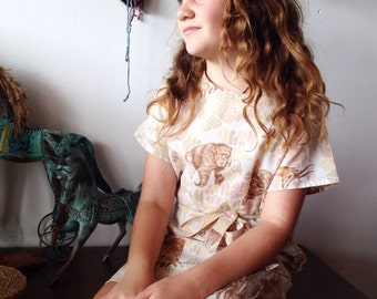 Children's Girls Summer Cotton Safari Dress.Size 7 to 10 .