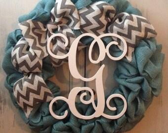 Summer wreath, Spring wreath, Summer door hanger, personalized turquoise wreath, burlap wreath
