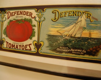 DEFENDER Tomato Crate Label-Like New -1950's- Free S/H