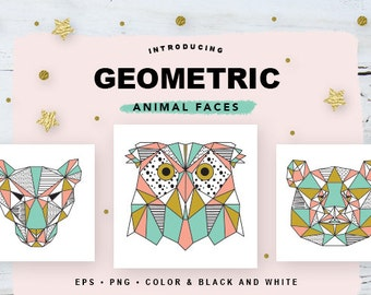Geometric Animal Faces EPS and PNG // Geometric Animal Heads // Origami Animals Color & Black and White