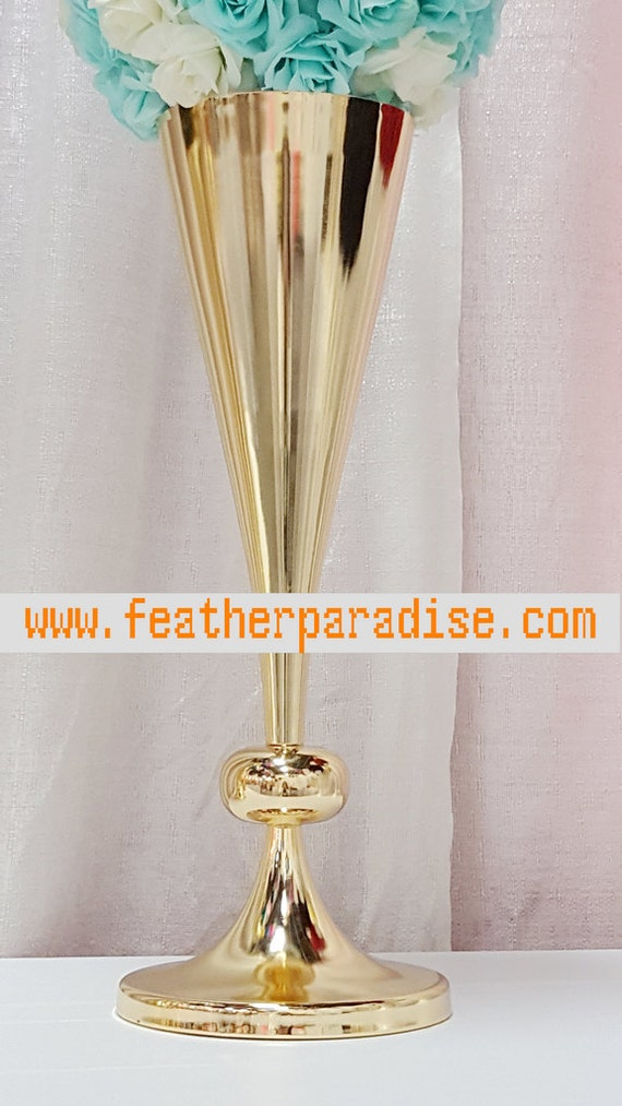 Inches gold tall metal trumpet vases centerpiece