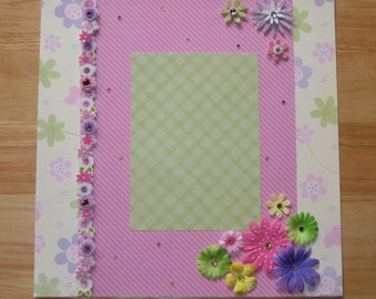 Flowers Scrapbook Page - Girl Scrapbook Layout - 12 x 12 Scrapbook - Premade Layout - Mother's Day - Family Layout - Wedding Page