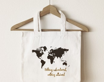 World map canvas tote bag/custom tote/ market bag/ canvas shopping bag/ travel bag/ market tote/ reuseable bag/ gold glitter tote